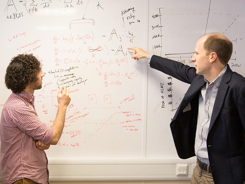 Researcher Ben Garfinkel with Professor Nick Bostrom, Founding Director of the Future of Humanity Institute. Image: Kinga, Fisher Studios.