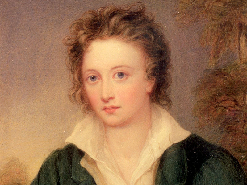 Portrait of Percy Bysshe Shelley by an unknown artist after Amelia Curran, dating from before 1858. Bodleian Libraries, University of Oxford