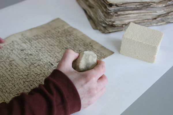 Removal of surface dirt from 1680's Chancellor's Court Papers