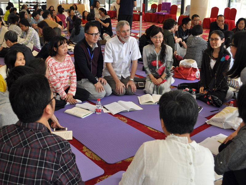 A mindfulness-based cognitive therapy training session led by Willem Kuyken and Mark Williams (Shanghai, 2018)