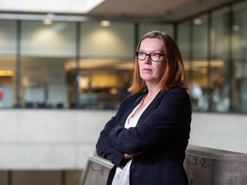 Professor Sarah Gilbert at the Jenner Institute. Photo credit: University of Oxford / John Cairns