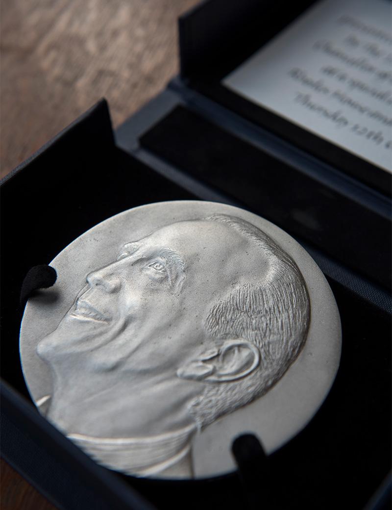 The Sheldon Medal for John McCall MacBain O.C. Artist: Jane McAdam Freud. Photo credit: John Cairns