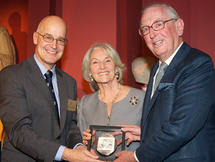 Vice-Chancellor Professor Andrew Hamilton presents Lord and Lady Sainsbury of Preston Candover with the Sheldon Medal at the Ashmolean Museum, Oxford, on 22 November 2010