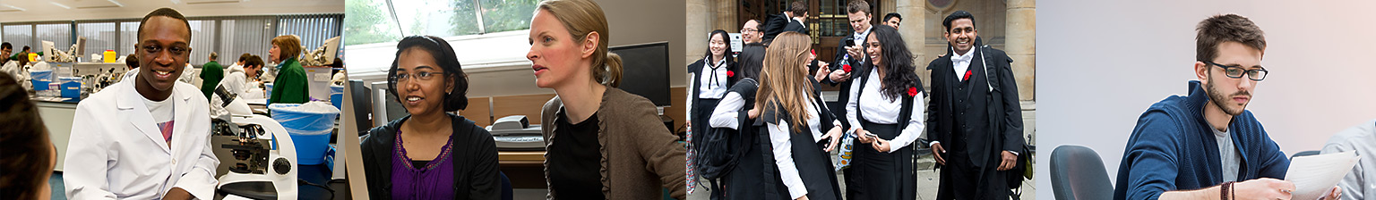 A series of photos of students studying, engaging and socialising in a variety of situations