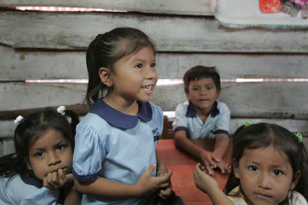 Young children at a school in Peru
