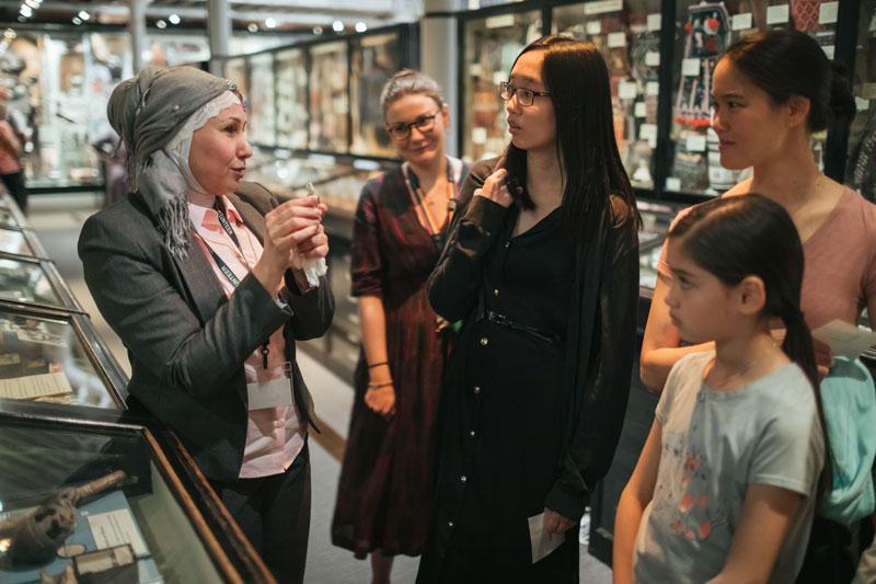 A project volunteer leads a tour at the Pitt Rivers Museum. Photo by Ian Wallman