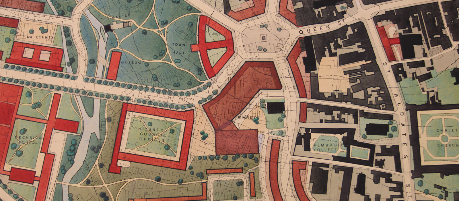 The Thomas Sharp map of Oxford. Photo courtesy of the Bodleian Libraries