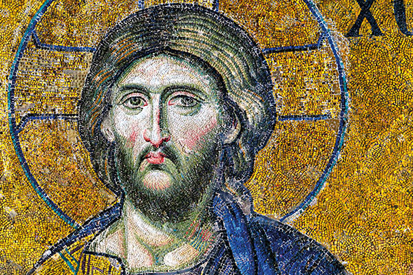 Detail of an ornate mosaic of Christ's image from Hagia Sophia, which was recently reconsecrated as a mosque, in Istanbul