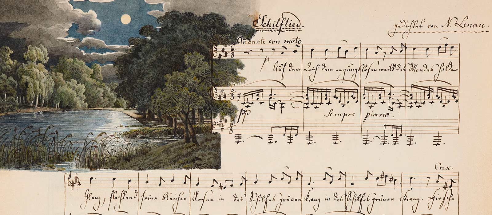 A hand-written and illustrated score of Schilflied (Reed Song) by Felix Mendelssohn from the Bodleian's collections