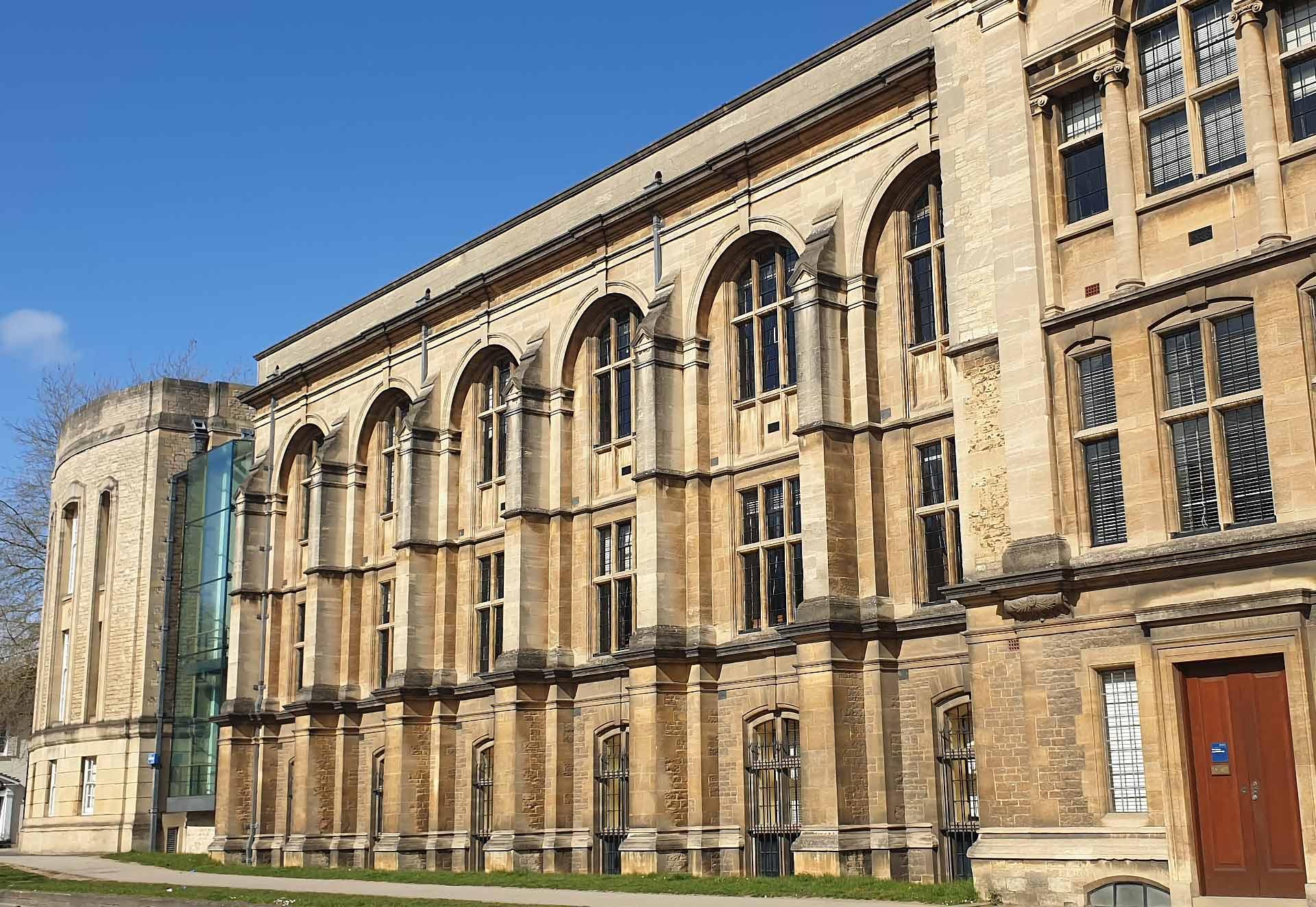 The historic façade of Reuben College in Oxford