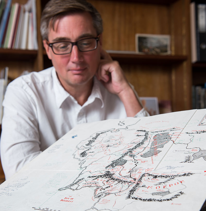 Dr Christopher Fletcher studying the map. Photo by John Cairns.
