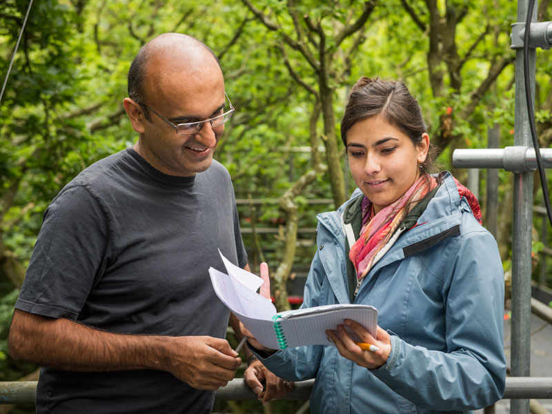 Professor Malhi and student Andrea Davrinche on Wytham's wooden walkway. Photo by John Cairns.