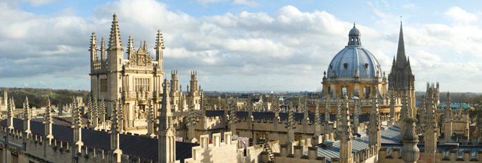 A photo of the Oxford skyline with focus on the Bodleian